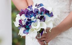 Turquoise and purple vanda orchid and calla lily real touch bridal bouquet by destinationornot.com