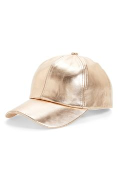 The classic baseball cap gets a gilded update in rose-gold faux leather.