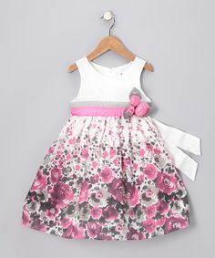 Take a look at this Pink & Gray Flower Dress - Toddler & Girls by Bonny Billy on #zulily today!
