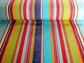 pale blue, red and green stripe deck chair fabric - Flamenco stripe