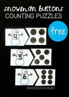 Button Counting Puzzles Free snowman counting puzzles for preschool or kindergarten. Fun winter math center or counting game!Free snowman counting puzzles for preschool or kindergarten. Fun winter math center or counting game! Christmas Math, Preschool Christmas, Preschool Winter, Christmas Activities For Preschoolers, Kindergarten Centers, Math Centers, Number Games For Kindergarten, Preschool Kindergarten, Preschool Learning