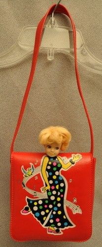 Vintage Girl's 1960's Red Plastic Purse with Doll Head peeking out  . . . a little scary!