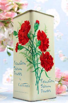 Vintage Home - Beautiful Vintage Carnations Talc Tin.