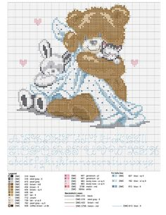 Birth sampler Bear Teddy for boy or girl