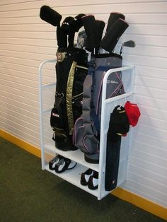 Expert Golf Tips For Beginners Of The Game. Golf is enjoyed by many worldwide, and it is not a sport that is limited to one particular age group. Not many things can beat being out on a golf course o Garage Organization Systems, Garage Storage Solutions, Storage Shed Plans, Organization Ideas, Motorcycle Storage Shed, Bike Storage, Wood Storage, Storage Shelves, Garage Wall Shelving