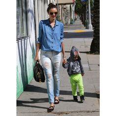 Miranda Kerr Photos - Miranda Kerr Out With Her Son - Zimbio ❤ liked on Polyvore