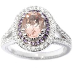 Add a dazzling bit of sparkle to your look with this classic sterling silver ring. The ring features a large, prong set morganite, encircled by a double halo of amethysts and white zircon. White zircon line the split shank, adding sparkle and brilliance.