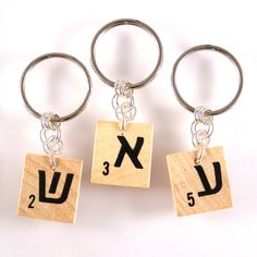 Hebrew Scrabble Keychain - Choose your letter by XOHandworks.com $7.50