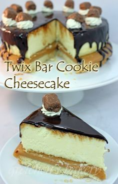 My Twix Cheescake is a combo of awesome recipes layered with creamy New York style vanilla cheesecake, soft caramel, shortbread cookies & ganache