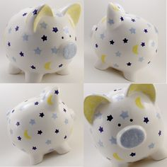 D.I.Y: Personalize your Piggy Bank.. Buy a plain one and paint on your designs!!..Pennies add up to Bills $$$ !!..=) Moon/Stars Theme