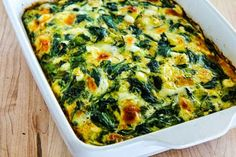 Low-Carb Power Greens Breakfast Casserole with Feta and Mozzarella is delicious and making a breakfast casserole is a great way to use healthy greens! Healthy Chicken Casserole, Veggie Casserole, Easy Casserole Recipes, Sweet Potato Casserole, Breakfast Casserole, Casserole Dishes, Low Carb Recipes, Cooking Recipes, Healthy Recipes