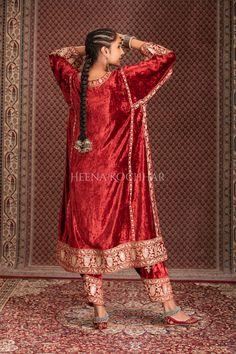 Indian Fashion Trends, Iranian Women Fashion, Latest Bridal Dresses, Wedding Dresses, Pakistani Dresses, Pakistani Kurta, Velvet Dress Designs, Kurta Style, Designer Party Wear Dresses