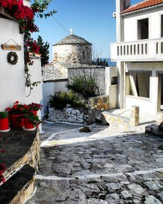 The old town (Chora) of the Greek Island  of Alonnisos.