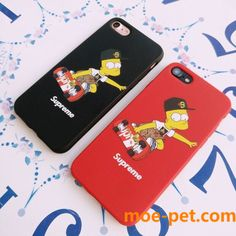 supremeシュプリームiPhone7/8 plusケースカバー ザ・シンプソンズ 可愛い 赤 黒