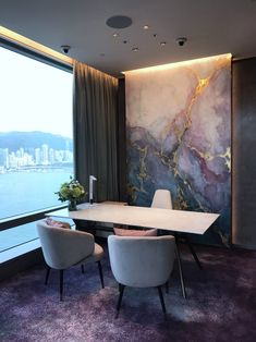 Wall Treatments by Elsa Jeandedieu Studio seen at Atelier - Blue and Purple Watercolour Marble Effect Faux Walls, Paint Your House, Luxury Dining Room, Luxury Living, Elegant Living Room, Contemporary Wallpaper, Marble Effect, Dream Decor, Wall Treatments