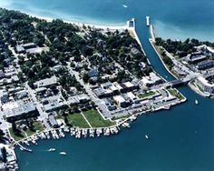 Charlevoix Michigan.  This canal connects Lake Charlevoix to the rest of the worlds major water ways.