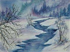 watercolour art painting winter snow (ref F221) £15.00