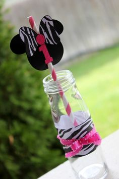 MINNIE MOUSE Hot Pink and Zebra Print Paper Straws by ekcscrapping