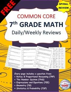 7th Grade Math Common Core  Daily / Weekly SPIRAL REVIEW (2 Weeks) This resource includes 10 real-world RATIOS AND PROPORTIONAL REASONING word problems that students must solve and explain using problem-solving strategies. ✔ Ratios and Proportional Reasoning (7RP) ✔ The Number System (7NS) ✔ Expressions and Equations (7EE) ✔ Geometry (7G) ✔ Statistics and Probability (7SP)