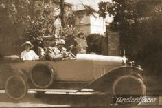 What an automobile! The Crossan family out for a drive with the family dog taken outside their home on the Thames River, London circa 1930. Original: http://www.ancientfaces.com/photo/william-alexander-crossans-sister-family/1270841