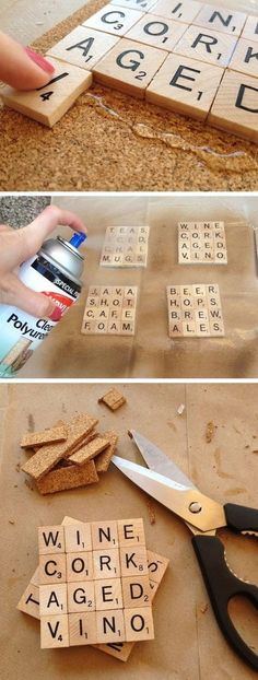 The best DIY projects & DIY ideas and tutorials: sewing, paper craft, DIY. Diy Crafts Ideas 35 Easy DIY Gift Ideas That People Actually Want -Read Scrabble Coasters, Diy Coasters, Scrabble Tiles, Custom Coasters, Scrabble Letters, Scrabble Crafts, Table Coasters, Wine Cork Coasters, Craft Ideas