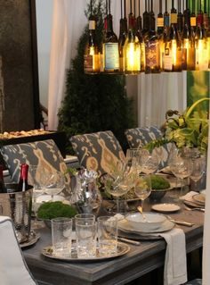 Great wine bottle lighting idea!!  {DIFFA Liebherr & Libby Langdon}