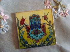 Hamsa, Hand of Fatima Reverse Glass Painting