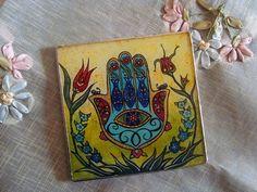 Hamsa, Hand of Fatima Reverse Glass Painting