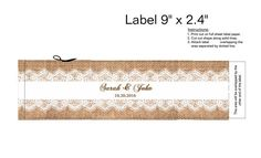 Water Bottle Labels lace DIY Printable Rustic Burlap and Lace Label for Wedding or Party. Print, Customize NOW. Water Bottle Labels, Water Bottles, Burlap Party, Wedding Labels, Label Templates, Bridal Shower, Baby Shower, Wedding Stationary, Party Supplies