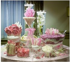 Candy Buffet # Candy bar# wedding party# quinceanera# birthday party# +++ BUFFET DE GOLOSINAS DULCES BODA BAUTIZO CUMPLEAÑOS CELEBRACION EVENTO QUINCEAÑERA ROMANTICO ROSA BLANCO
