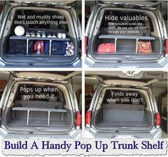car organization Build A Handy Pop Up Trunk Shelf, Build A Handy Pop Up Trunk Shelf great way to maximize your trunk space and keep valuables out of plain sight. Auto Camping, Camping Hacks, Camping Supplies, Chalet Camping, Pop Up, Up Auto, Pajero Sport, Car Essentials, Car Storage