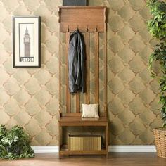This Hall Tree Entry Bench offers four double hanging hooks and one shelf in a mission oak finish. Offers 4 double hanging hooks and 1 shelf, Mission oak finish. Narrow Entryway, Entryway Storage, Entryway Furniture, Narrow Hall Tree, Entryway Ideas, Furniture Decor, Rustic Entryway, Entryway Decor, Small Entry Bench