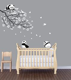 """This scene includes one branch with lots of flowers, 3 pandas (about 10.9"""" w by 9.4"""" h, 11.5"""" w x 7"""" h, and 10.6"""" w 10.7"""" h), Birds and Butterflies. The Branch with Flowers is about 46.7"""" wide and 33.1"""" tall. You can move Flowers closer or farther apart. Flowers are applied individually. Fabric Repositionable/Reusable Decal for EVERYTHING"""