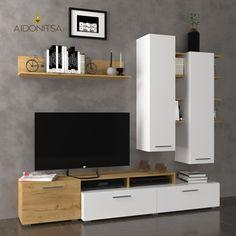 Σύνθεση Τηλεόρασης Astin 203*45.3*180, Χρυσός Δρύς Με Λευκό. Από την Alphab2b.gr Modern Tv Cabinet, Space Saving Beds, Tv Unit Decor, Chrome Handles, Wood Drawers, Tv Cabinets, Entertainment Center, Decoration, Modern Decor