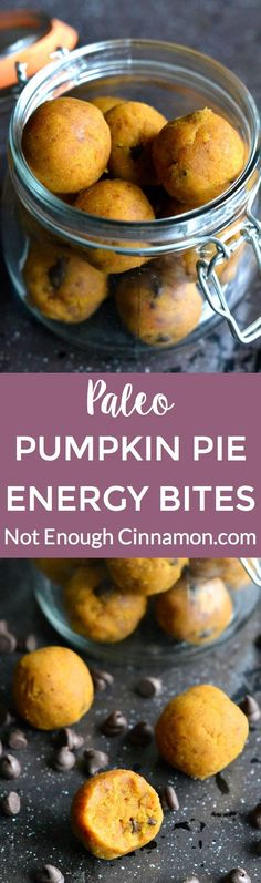 You only need 4 ingredients and 15 minutes to make these Paleo energy bites. The perfect Fall snack!   Find the recipe on NotEnoughCinnamon.com #snack #pumpkin
