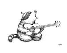 Raccoon Playing Guitar 5 x 7 Print