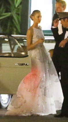 Dress #2 - same night - for a dinner hosted by her mother-in-law Princess Caroline at Monaco's exclusive, five-star Hôtel de Paris.