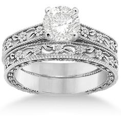 Allurez Carved Floral Wedding Set Engagement Ring & Band 14K White... (€955) ❤ liked on Polyvore featuring jewelry, rings, wedding, accessories, engagement rings, white gold, wedding rings, cocktail rings, flower engagement ring and solitaire engagement rings