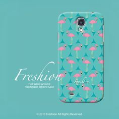 Samsung Galaxy S4 case Flamingo with Turquoise color Samsung Galaxy S3 case, art phone case for Galaxy S3 / S4