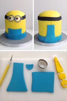 Cutting the pieces of the Minion's dungarees from blue fondant icing,