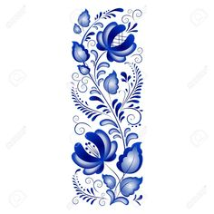 Russian ornaments in gzhel style Gzhel a brand of Russian ceramics, painted with blue on white Фото со стока - 13330607 Folk Art Flowers, Flower Art, Stencil Patterns, Embroidery Patterns, Art Populaire Russe, Gravure Illustration, Russian Folk Art, Russian Style, Scandinavian Folk Art
