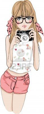 illustration cute girl with camera Stock Photo