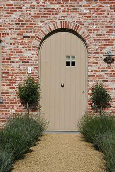 lavender path, painted door, lime mortar