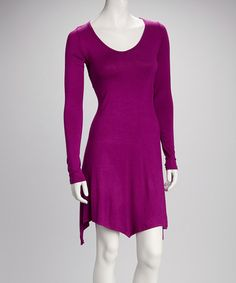 Take a look at this Magenta Sidetail Dress - Women by American Twist on #zulily today!