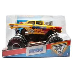 """Hot Wheels Year 2013 Monster Jam 1:24 Scale Die Cast Official Monster Truck Series - """"2 Time World Freestyle Champion"""" Garner's Towing Yellow AVENGER (X9035) with Monster Tires, Working Suspension and 4 Wheel Steering (Dimension - 7"""" L x 5-1/2"""" W x 4-1/2"""" H), http://www.amazon.com/dp/B00FDZNEIM/ref=cm_sw_r_pi_awdm_GdNqtb0WGEY72"""
