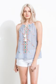 Striped Embroidered Top - Longhorn Fashions