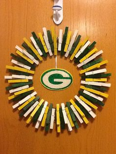 Green Bay packers clothespin wreath by BuckysCrafts on Etsy