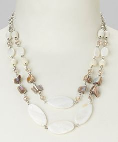 Love this White & Silver Chain Bead Bib Necklace by Majestic on #zulily! #zulilyfinds