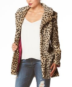 Look what I found on #zulily! Carmin Brown Cheetah Faux Fur Long Jacket by Carmin #zulilyfinds