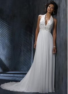 Seductive Applique Halter V-Neck Beads Working Empire Wasit Sheath Chiffon Satin Chapel Train Bridal Gown In Canada Wedding Dress Prices In Canada Bridal Gowns Prices